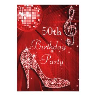 Red Disco Ball and Sparkle Heels 50th Birthday 13 Cm X 18 Cm Invitation Card