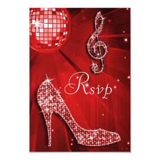 Red Disco Ball Sparkle Heels RSVP Card
