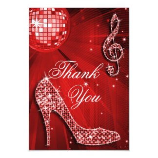 Red Disco Ball Sparkle Heels Thank You Card
