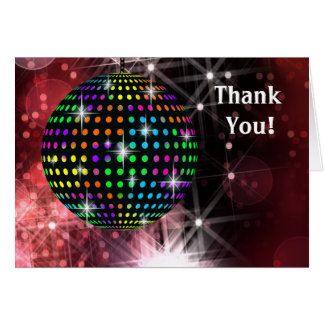 Red Disco Ball Thank You Cards