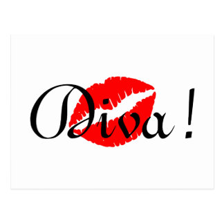 Red Diva Kiss Postcard