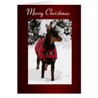 Red Doberman in Snow Christmas Card (v9-2 Ribbon)