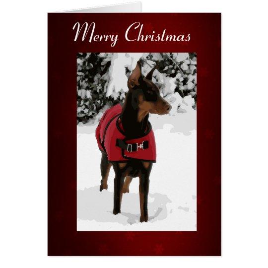 Red Doberman in Snow Christmas Card (v9-2 Ribbon)