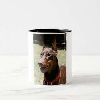 Red Doberman Portrait (v9-2) Two-Tone Coffee Mug