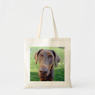Red doberman tote bag