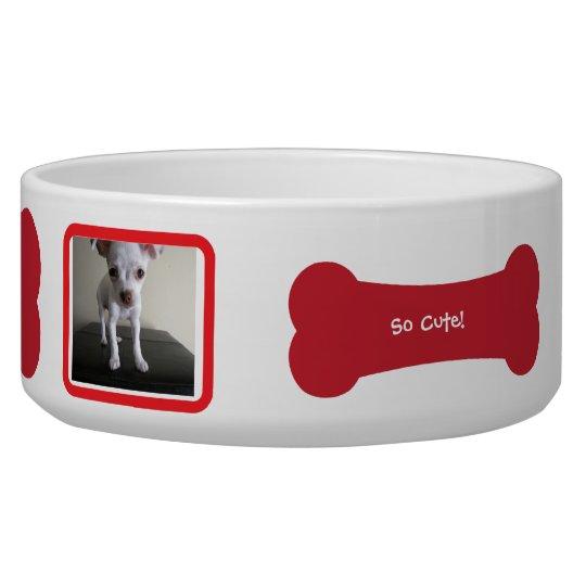 Red Dog Bone Photo Personalised Pet Bowl