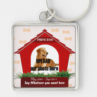 Red Dog House Pet Memorial Key Ring