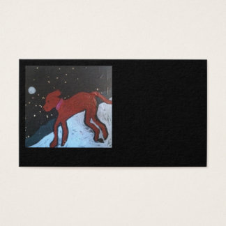 """Red Dog in Snow"" Business Cards"