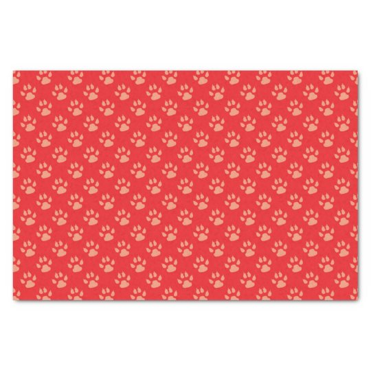 Red Dog Paw Print Christmas Tissue Paper