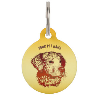 Red Dog With Brown Eyes Drawing And Your Text Pet Name Tag