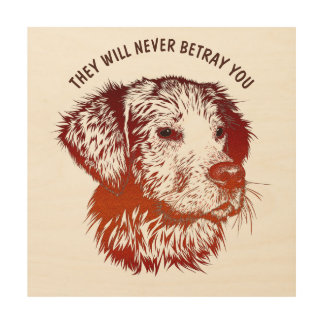 Red Dog With Brown Eyes Drawing And Your Text Wood Canvas