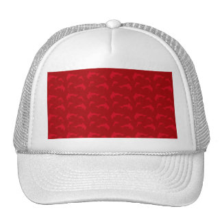 Red dolphin pattern mesh hat
