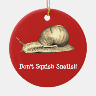 Red Don't Squish Snails Design Christmas Ornament