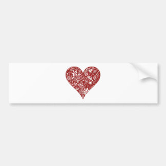 Red Doodle Heart Bumper Stickers