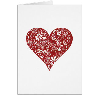 Red Doodle Heart Card