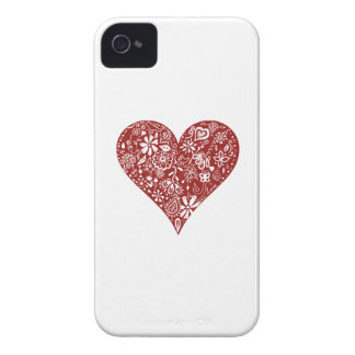 Red Doodle Heart iPhone 4 Case-Mate Case