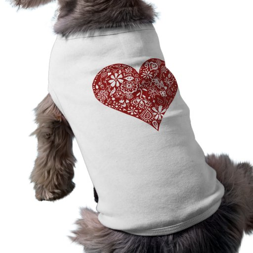Red Doodle Heart Doggie Tee Shirt