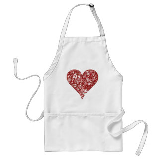 Red Doodle Heart Standard Apron