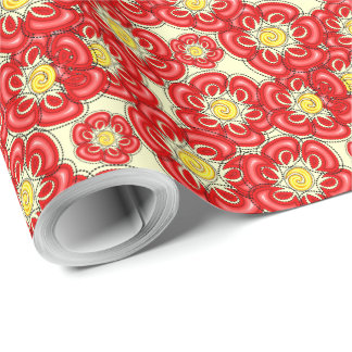 Red doodle poppy flowers wrapping paper