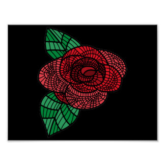 Red Doodle Rose Poster