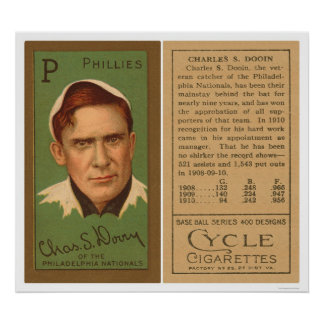 Red Dooin Phillies Baseball 1911 Poster