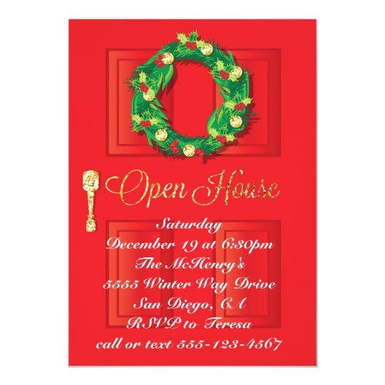 Red Door Christmas Holiday Open House with wreath