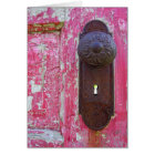 Red Door Keyhole Card