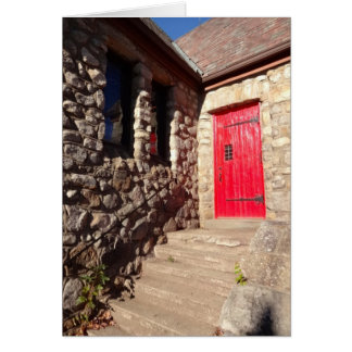 Red Door On Stone Church Inspirational Note Card