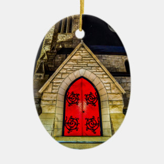 Red Door to Church with Moon Christmas Ornament