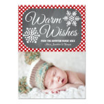 Red Dot Chalkboard Snowflake Holiday Photo Card