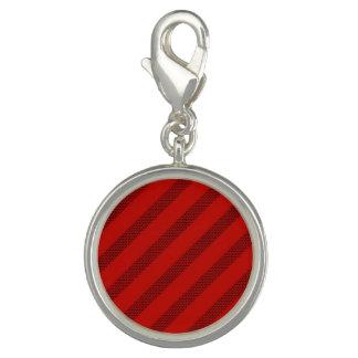 Red Dot Stripe Round Charm