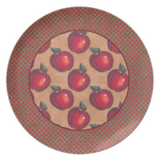 Red Dots Border Red Apples Brown Dinner Plates