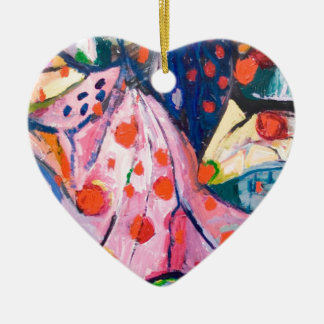 Red Dots (fabric expressionism) Ornament