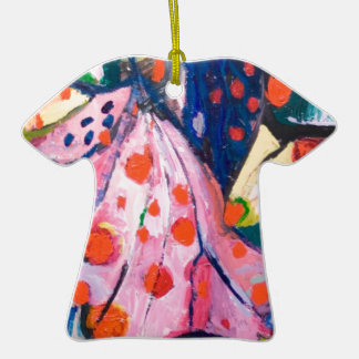 Red Dots (fabric expressionism) Christmas Ornaments