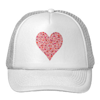 Red dots Heart Shape pink polka dots Cap
