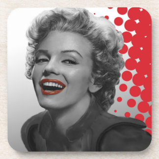 Red Dots Marilyn Beverage Coasters