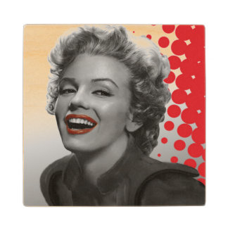 Red Dots Marilyn Wood Coaster