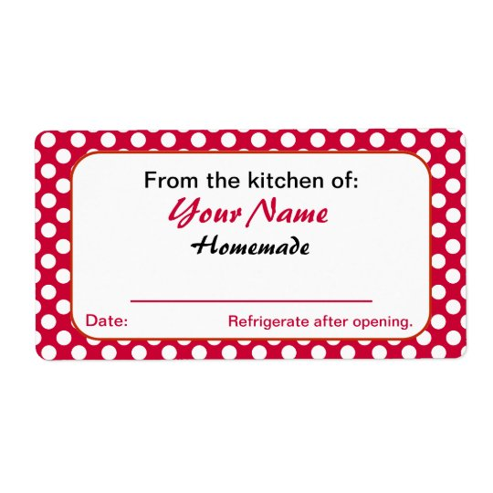 Red Dots Personalised From the Kitchen Of Labels