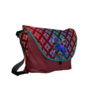 Red Dots Spinning Sensation with Geo Pattern Horse Commuter Bags
