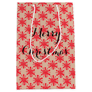 Red dotted stars on taupe medium gift bag