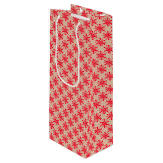 Red dotted stars on taupe wine gift bag
