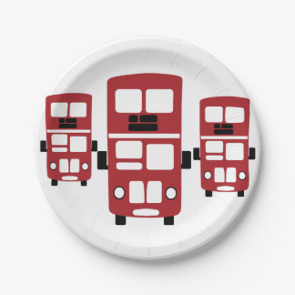 Red double decker bus paper plates