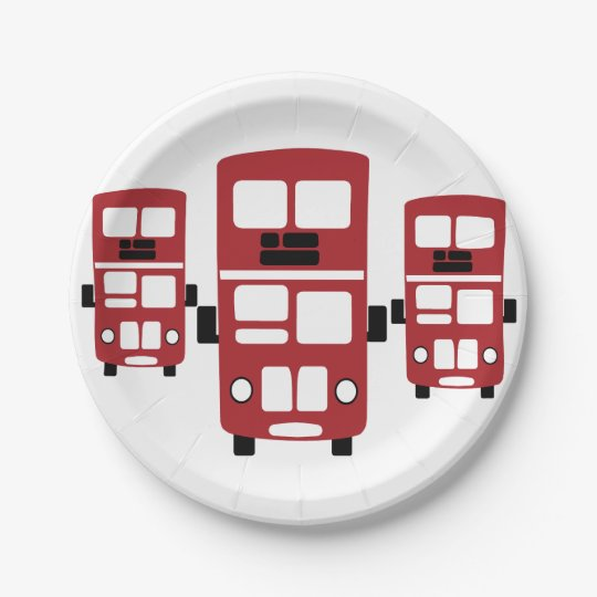 Red double decker bus paper plates 7 inch