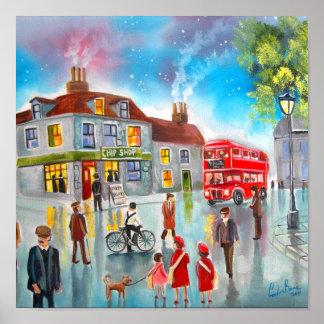 Red double decker bus street scene painting print