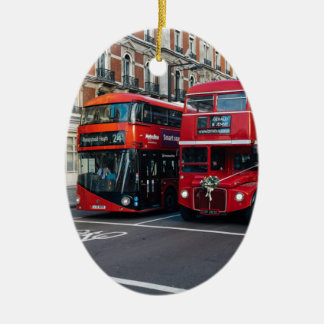 Red Double Decker Buses Ceramic Oval Decoration