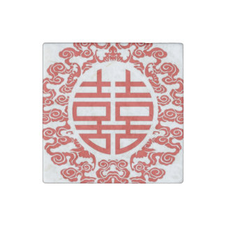 red double happiness modern chinese wedding stone magnet