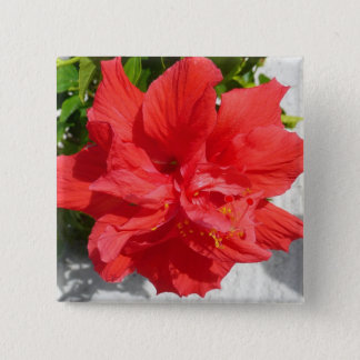 Red Double Hibiscus Flower 15 Cm Square Badge