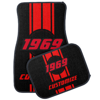 Red Double Race Stripes | Personalise Car Mat