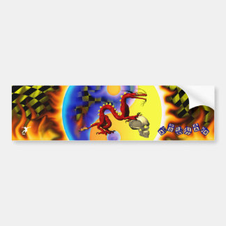 Red Dragon 2 with your name in toy blocks Car Bumper Sticker