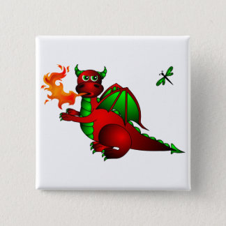 Red Dragon and Dragonfly 15 Cm Square Badge